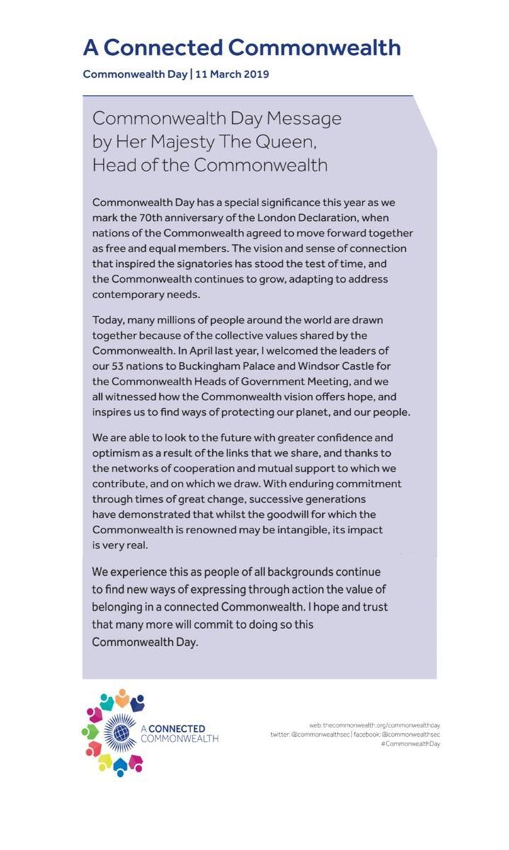 Commonwealth Day 2019 - Bognor Regis Town Council
